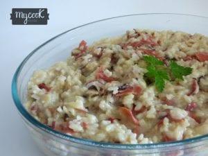 risotto de jamón y setas