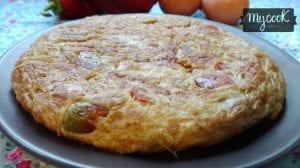 tortilla de berenjena y pimiento