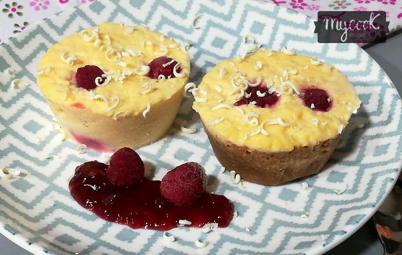 tartaletas de queso y frambuesa