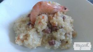 arroz meloso con jamón y gambas