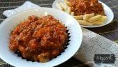 pasta con boloñesa de carne y verduras