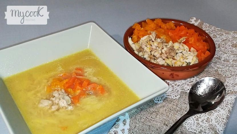 sopa de calabaza y pollo