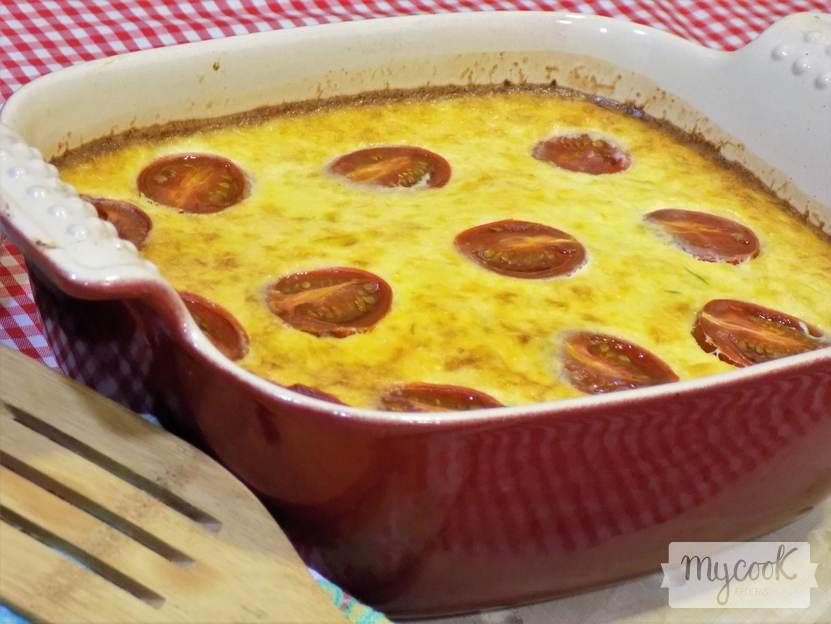 pastel de puerros y tomates cherry