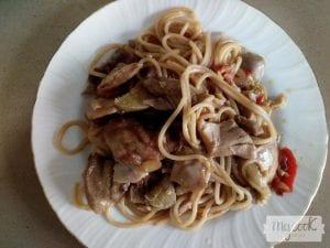 Tallarines tres delicias con Mycook