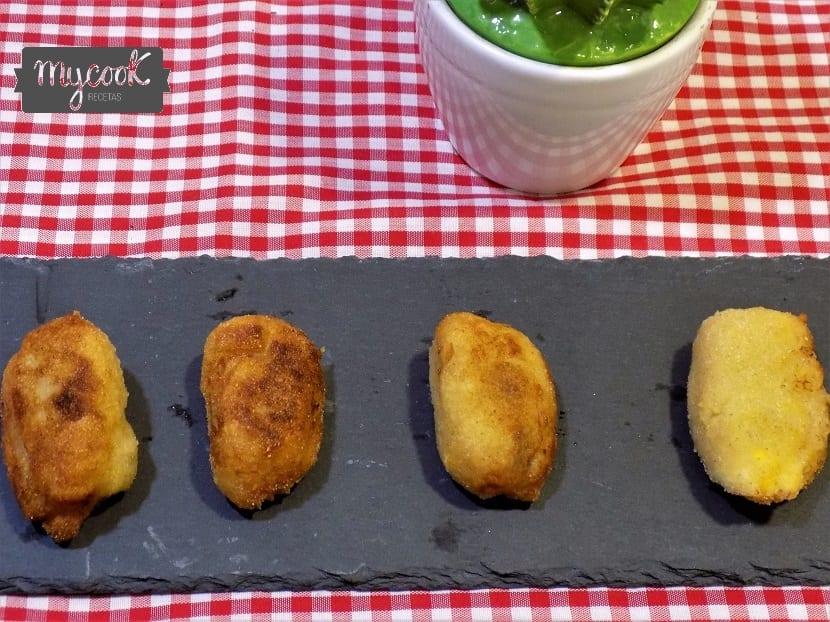 croquetas de salmón y langostinos con Mycook