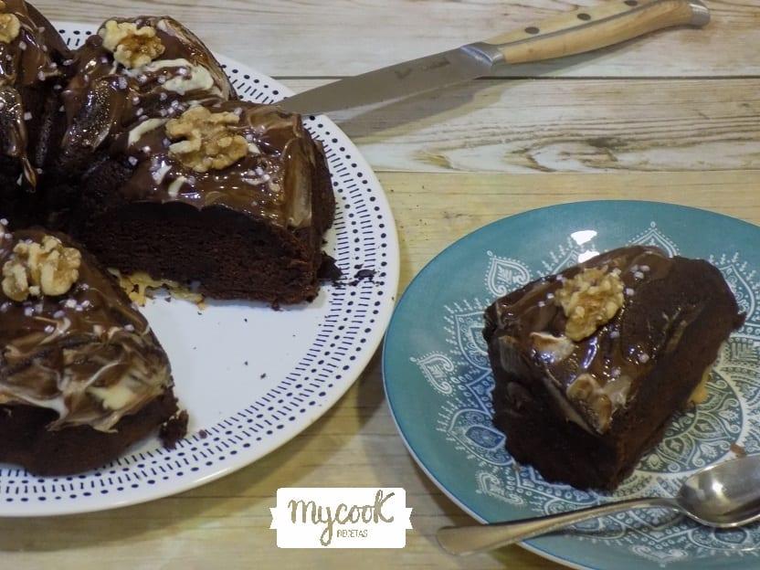bizcocho de chocolate,plátano y nueces con Mycook