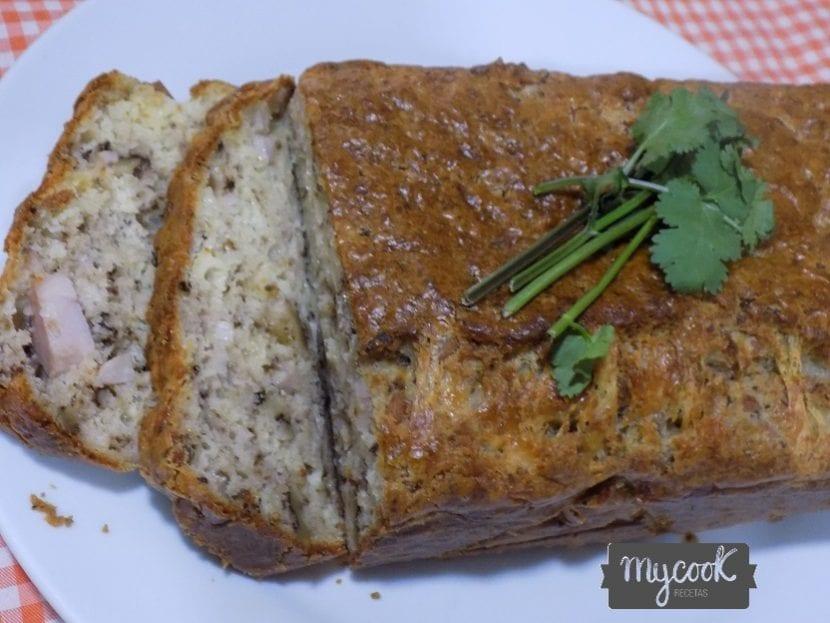 bizcocho de jamon york,queso y nueces con Mycook