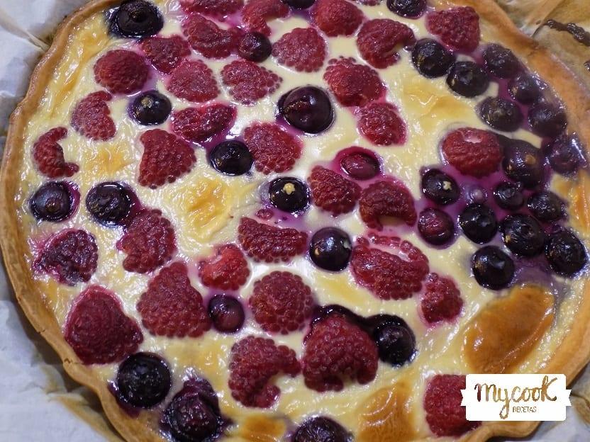 tarta de frambuesas y arándanos con Mycook