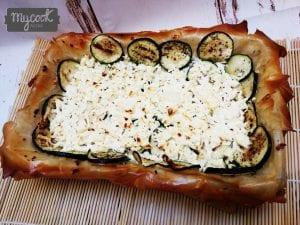 Tarta salada de calabacín y queso feta con Mycook