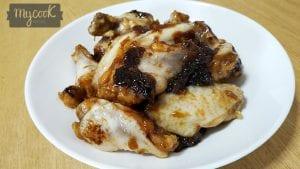 Alas de pollo con cebolla y caramelo líquido
