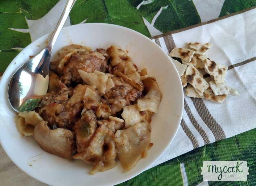 Gazpacho manchego de conejo y codorniz preparado con Mycook