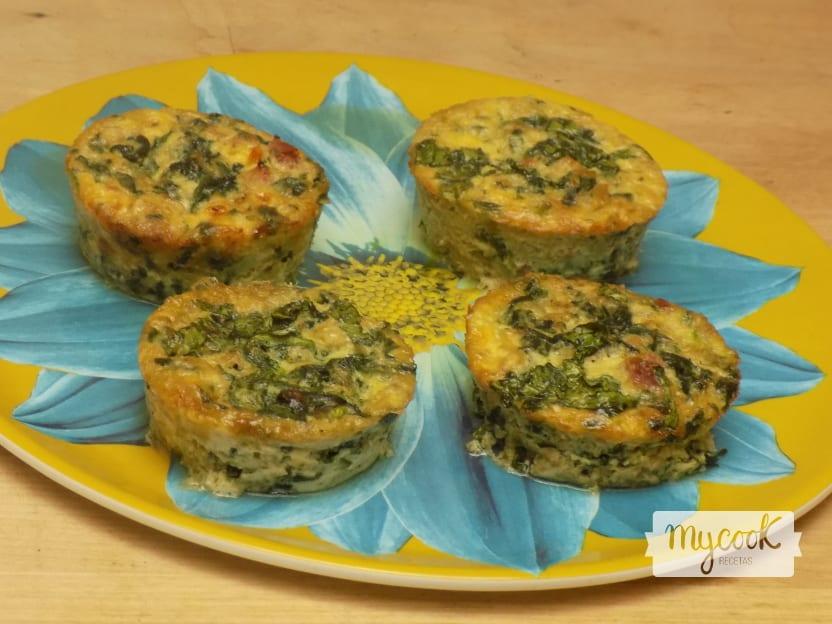Muffins de espinacas y setas