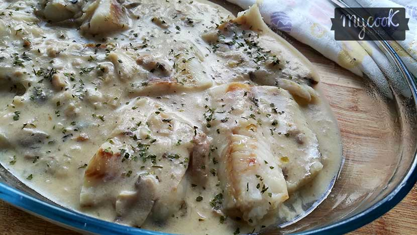 pescado con salsa de setas