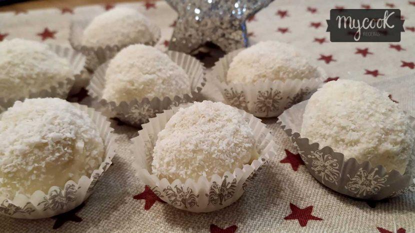 bombones de coco y chocolate blanco
