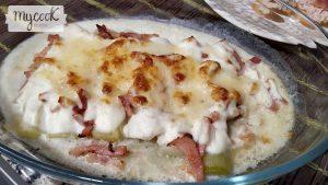 puerros gratinado con bacon1