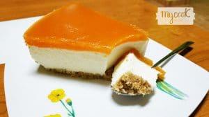 Tarta de queso con mermelada de calabaza