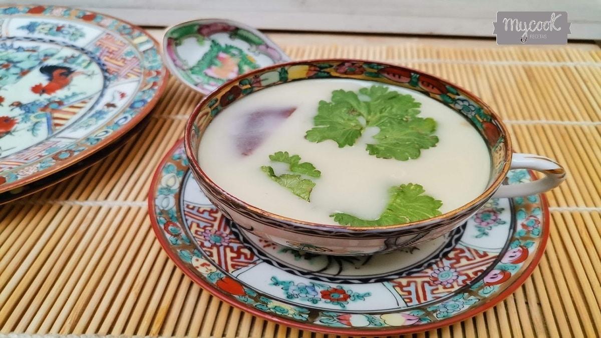 Sopa oriental de pollo y verduras