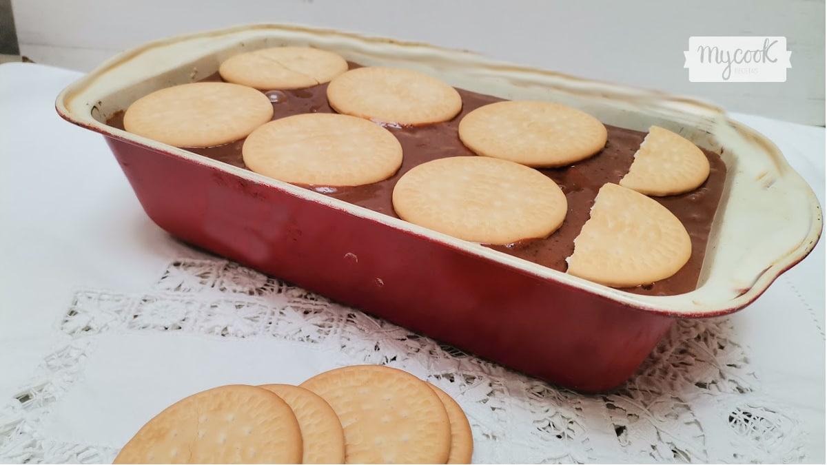 Tarta de flan y galletas con Mycook